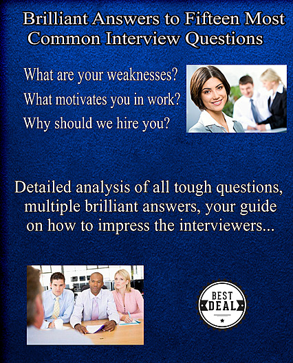 Cover Of 15 Most Common Interview Questions Bonus Material You Get For Free With Your